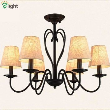 American Retro Rural Fabric Led Chandeliers Lustre Black Metal Dining Room Led Ceiling Chandelier Lighting Led Chandelier Lights