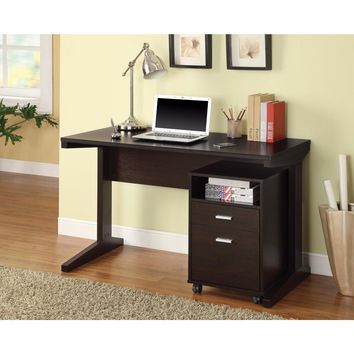 2-Piece Desk Set with Rolling File Cabinet, Brown