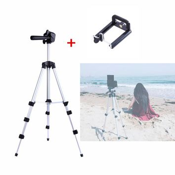 Protable Camera Tripod+ Phone Holder+Nylon Carry Bag Aluminum alloy Quick release plate Rocker Arm for DSLR Camera DV Camcorder