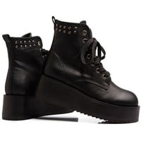 Rivets Black Wedge-soled Ankle Boots [ASX0018] - $143.99 :