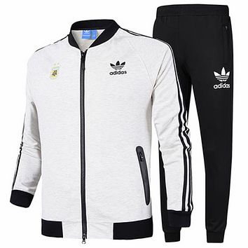ADIDAS Clover 2018 autumn new baseball jacket sports running training pants two-piece suit white