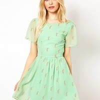Sugarhill Boutique Lace Up Back Dress in Milkshake Print at asos.com