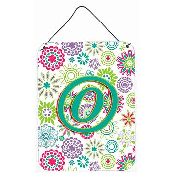Letter O Flowers Pink Teal Green Initial Wall or Door Hanging Prints CJ2011-ODS1216