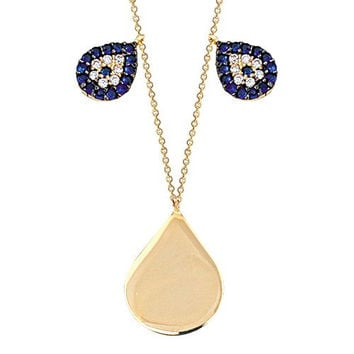 Drop Evil Eye Disc 14k Solid Gold Necklace Name Tag