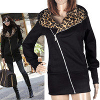 New Fashion Korea Women Leopard Fleece Hoodie Sweatshirt Jacket Coat Warm Outerwear