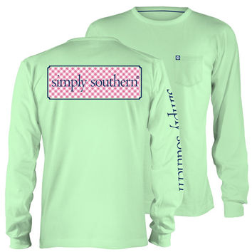 Simply Southern Collection Classic Logo Mint Long Sleeve Pocket T-Shirt