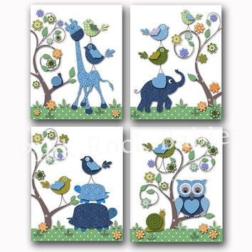 Blue green nursery wall art kids room decor playroom poster nursery artwork baby boy room decoration giraffe elephant owl print set