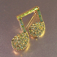 Rhinestone Music Note Brooch, Figural, Sparkly Green, Mint Condition