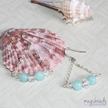 Swing Amazonite Gemstone Bead and Swarovski Crystal Sterling Silver Earrings, Ocean Blue, Simple Everyday, Gifts for her