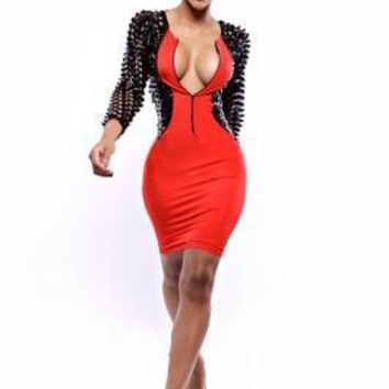 Red Hallow Out Sexy Women Dress