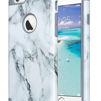 CREYRQ5 iPhone 6S Case,iPhone 6 Case Marble, ULAK Slim Dual Layer Soft Silicone & Hard Back Cover Bumper Protective Shock-Absorption & Skid-proof Anti-Scratch Hybrid Case-marble pattern