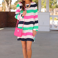 Starboard Dress, Green/Pink