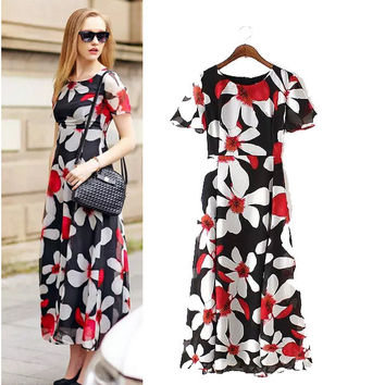 Stylish Round-neck Short Sleeve Floral Print Slim Chiffon Women's Fashion Prom Dress One Piece Dress [4918965380]