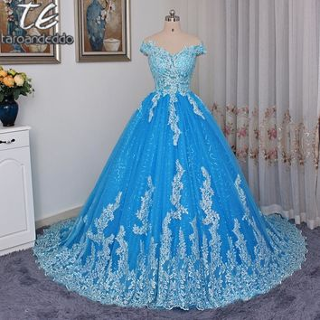 Off the Shoulder Sheer Applique Ball Gowns Prom Dress Exquisite Lace Blue Gowns for Evening vestido longo festa