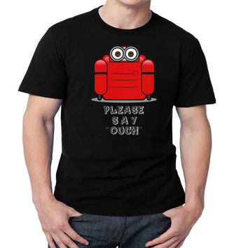 Minion trapped please say ouch  Mens T-shirt Black and White
