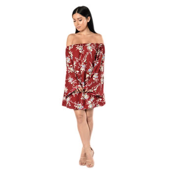Fashion Off Shoulder Long Sleeve Loose Floral Print Strapless Mini Dress