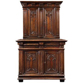 Cabinet of Renaissance Period with Decor of Perspectives in 'Trompe l'oeil'