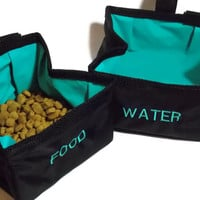 Collapsible Travel Dog Bowls - Set of 2 - Black and Teal