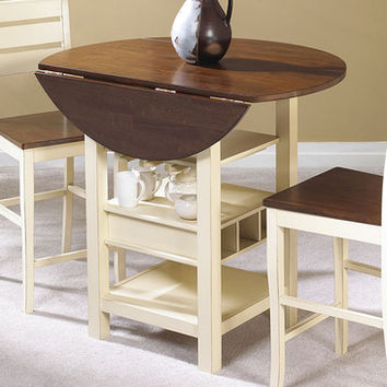 Cramco Cascade Round Mahogany & Cream Drop Leaf Counter Height Table