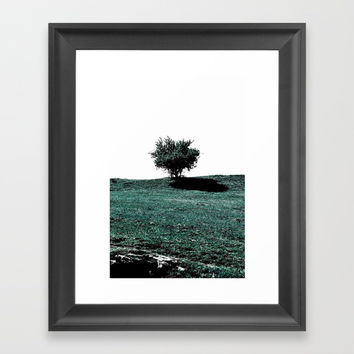 Tree On Hill Framed Art Print by ARTbyJWP