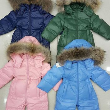 Children's clothing winter baby jumpsuit climbing white duck down to go out cold clothing animal hair collar
