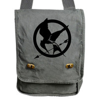 Hunger Games Mockingjay Gray Canvas Messenger Bag