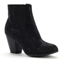 Rock & Republic Black Embellished Ankle Boots - Women