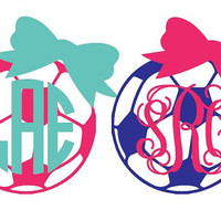 "5"" Soccer Ball  Monogram and Bow Car Sticker Vinyl Decal"