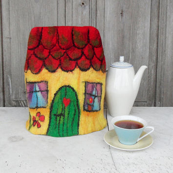 Felted tea cozy, little fairy house teapot cosy, tea warmer, gift for tea lovers, rustic home decor. OOAK