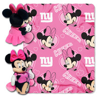 Ny Giants - Disney 40X50 Fleece Throw W/Minnie Character Pillow