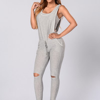 Begging For More Jumpsuit - Heather Grey