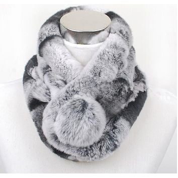 Valpeak Women Scarf  Winter 2016 Brand Luxury Knitted Female Real Rex Rabbit Fur Scarf Collar Warm Neck Chinchila Color Pompoms