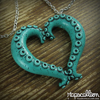 Teal Tentacle Heart Best Friends Necklace Set