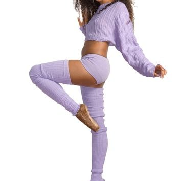 Super Long 40 Inch Thigh High Leg Warmers Bare Belly Shadow Stripe Top & Boy Shorts KD dance USA