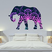 Wall Decals Elephant Full Color Wall Decals Boho Style Decor Animals Colorful Vinyl Sticker Mural Art Decor SD19