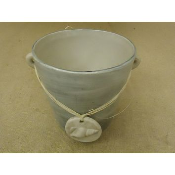 TII Collections Flower Pot Beige/Gray Seashell Round P1741 Ceramic -- New