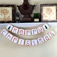 Christmas Decorations Merry Christmas Banner, Christmas Photo Prop, Christmas Sign, Holiday Photos, Christmas Garland