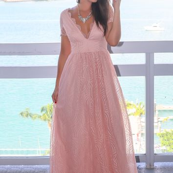 Blush V-Neck Maxi Dress with Short Sleeves