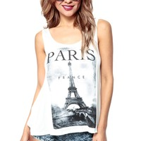 Fun in Paris Overlapped Tank @ Cicihot Top Shirt Clothing Online Store: Dress Shirt,Sexy Womens Shirt,T Shirts,Corset Dress,White T Shirt,Girl T Shirt,Short sleeve top