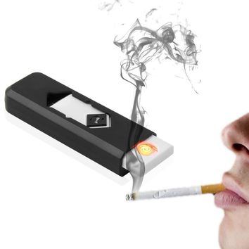Electronic USB Cigarette Lighter Windproof Ultra-thin No Gas USB Rechargeable Flameless Electric Arc Cigar Cigarette Lighter