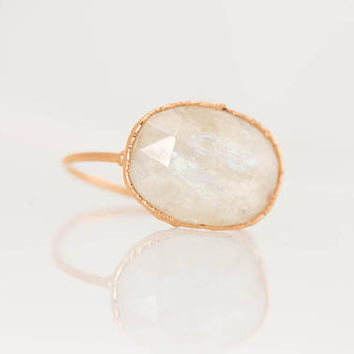 Rose Gold Moonstone Ring, Rainbow Moonstone Ring, Wedding Gift Moonstone Jewelry, June Birthstone, Unique Engagement Ring Raw Moonstone Ring