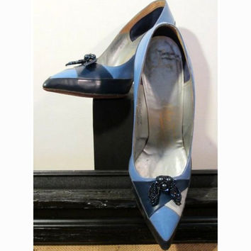 50s/60s Colorblock Heel Blue Martinique Mad Men Custom Made Beaded Shoe Clips Vintage - FREE SHIPPING