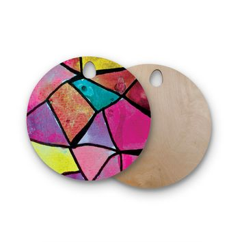 "Theresa Giolzetti ""Stain Glass 3"" Round Wooden Cutting Board"