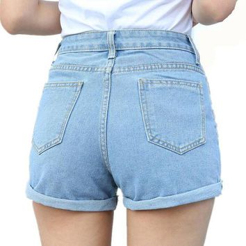 ONETOW New Casual Fashion Blue Jeans 2017 Plus Size 26-32 Summer High Waist Casual Jeans Denim Shorts For Women Short Jeans