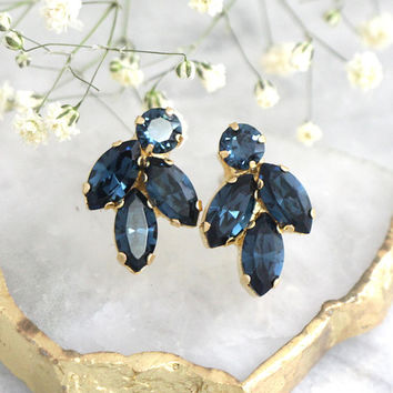 Bridal Blue navy Earrings, Dark Blue Earrings, Blue Navy Crystal Swarovski Earrings, Navy Blue Bridesmaids Earrings, Gift For Her.