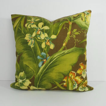 Tommy Bahama Designer Tropical Pillow Cover, Decorative Throw Pillow Cushion, Palm Trees, 20 x 20, Green, Brown