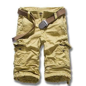 Men's Cargo Shorts 2017 Summer Cotton 3/4 Length Casual Short Pants For Mens Brand Clothing Camo Military Tactical Men Shorts