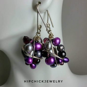 Purple Pearl & Gemstone Earrings, Handmade OOAK Beaded Earrings, Wire Wrapped Beads, Unique Artisan Jewelry, Cluster Wraps, HipChickJewelry
