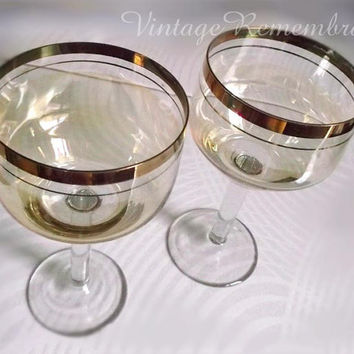 Set of Two Vintage Soviet Champagne Drinking  Glasses Glassware Wineglasses Rare Collectable Bar Decor