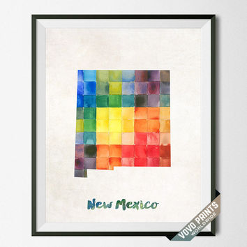 New Mexico, Map, Print, Santa Fe, Albuquerque, USA, Poster, Watercolor, Painting, Home Town, Dorm Room, Art, States, Watercolour [NO 31]